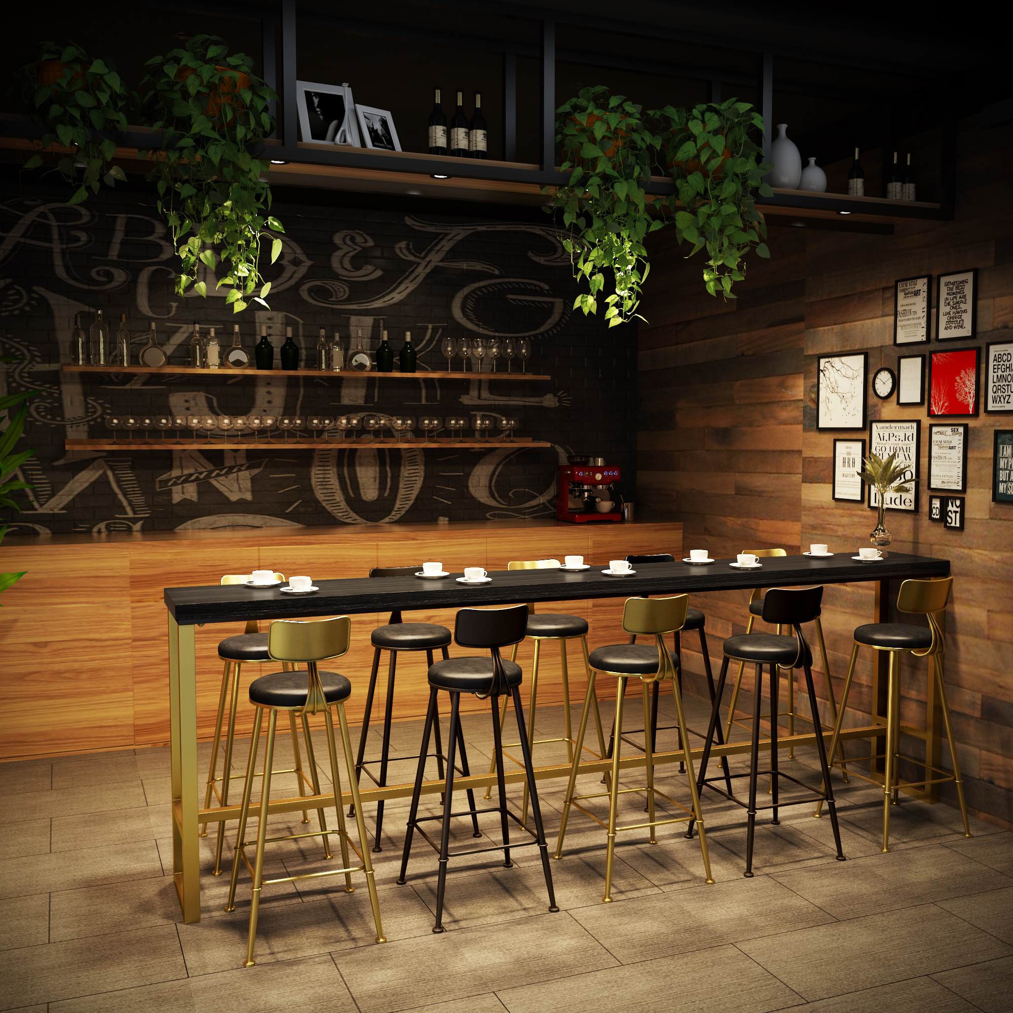 Picture of: Buy Solid Wood Bar Table And Chair Casual Milk Tea Coffee Shop Bar Table Living Room Small Bar Against The Wall Long High Table Home On Ezbuy My