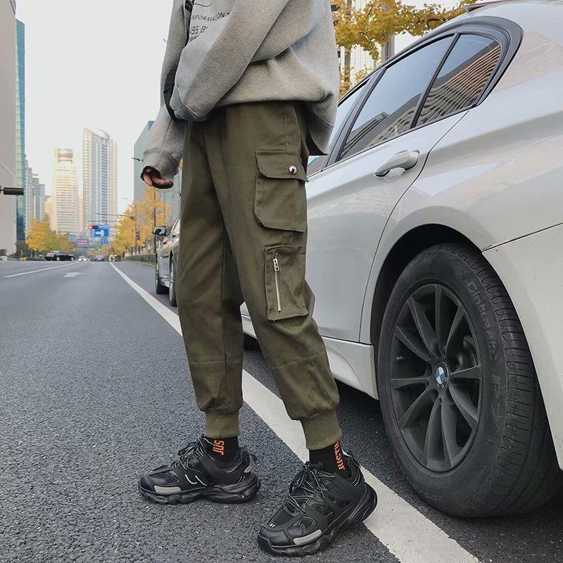 Uzi Store ins super-fire pants men's workpants tide brand loose men's pants Korean version hip-hop leggings port wind casual pants ulzzang