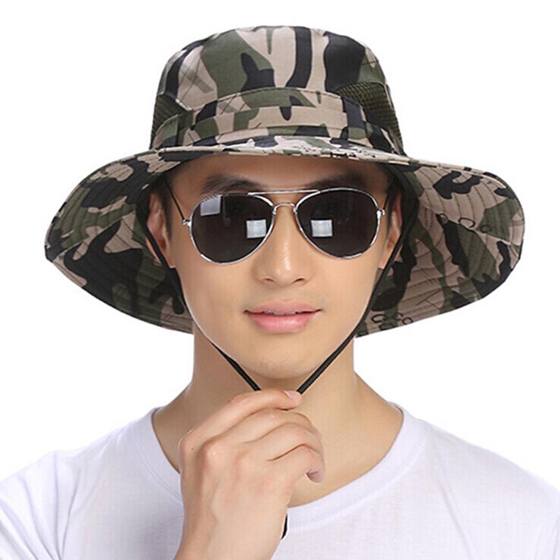 Sun hat plus hat eaves sun hat travel fishing hat camouflage big along fisherman hat men's hat summer shade