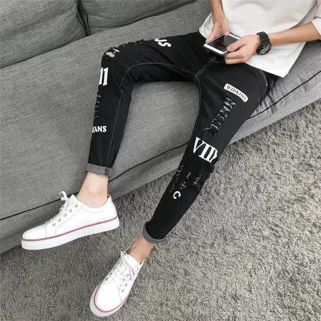 Trend slimmed 9 points small foot pants students casual pants cut holes nine points jeans men stretch youth Korean version