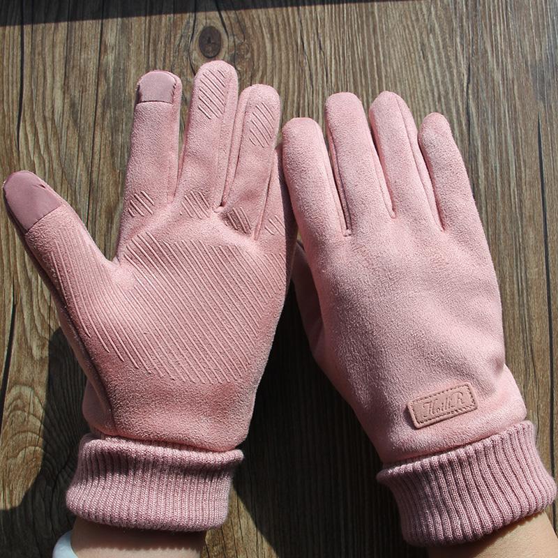 Women's winter warm touch screen gloves winter velvet driver driving non-slip men's suede velvet cold-proof bike zyf1226