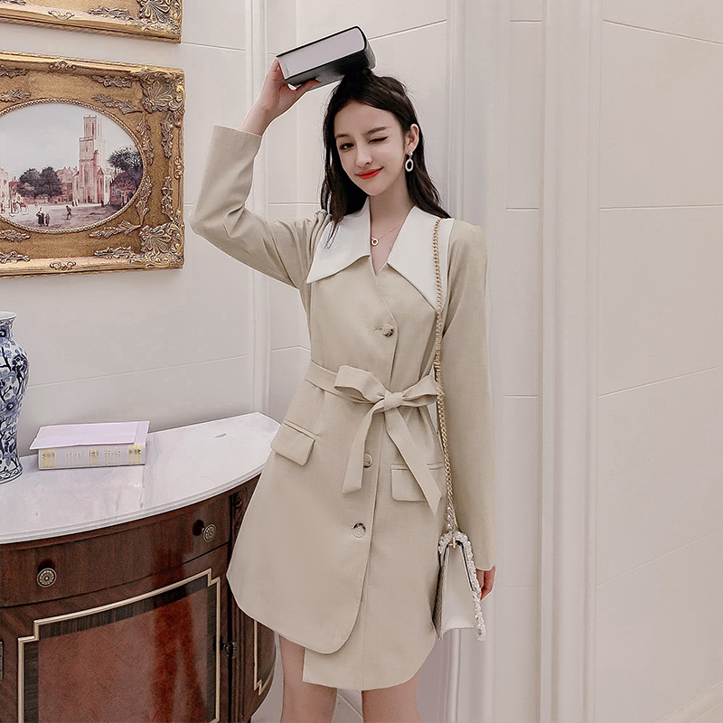Live 2019 autumn clothing new long-sleeved suit dress coat French minority skirt women