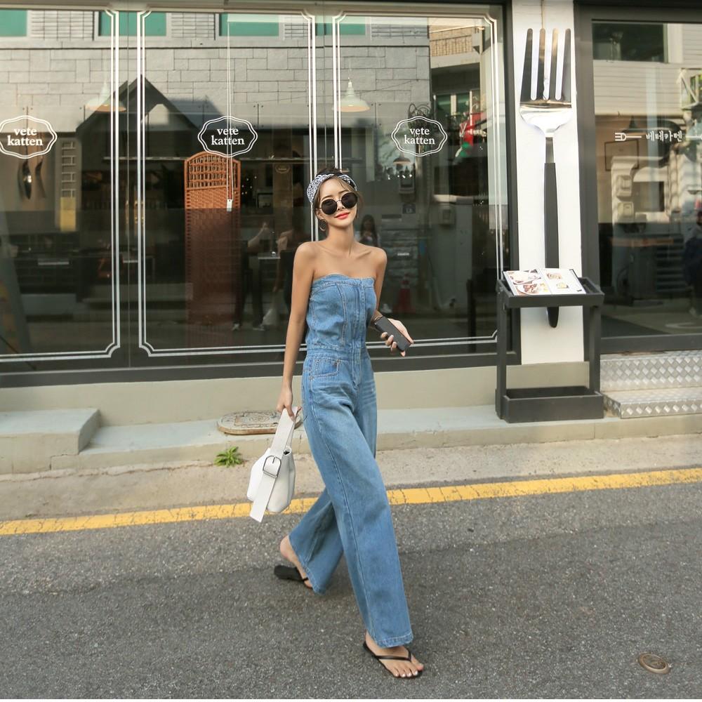 มะนาวอนาคต-Temperamental น้อยฮันรุ่นฮั่นของเอวสูงขายาวกางเกง๒๐๒๐ฤดูร้อนใหม่เปลือย braless กางเกง jumpsuit