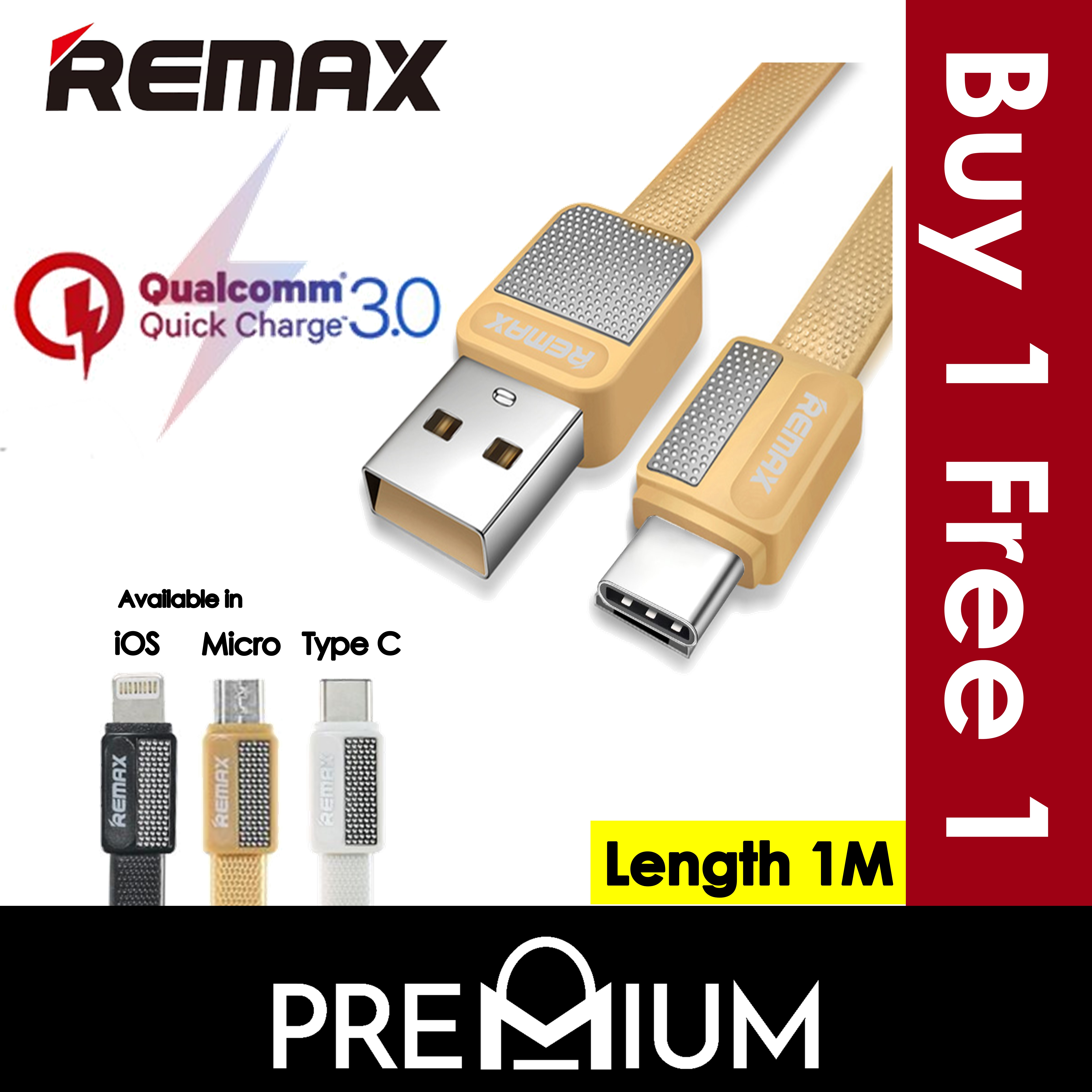 Buy BUY 1 FREE 1 REMAX Metal Fast Charging Charger Quick ...