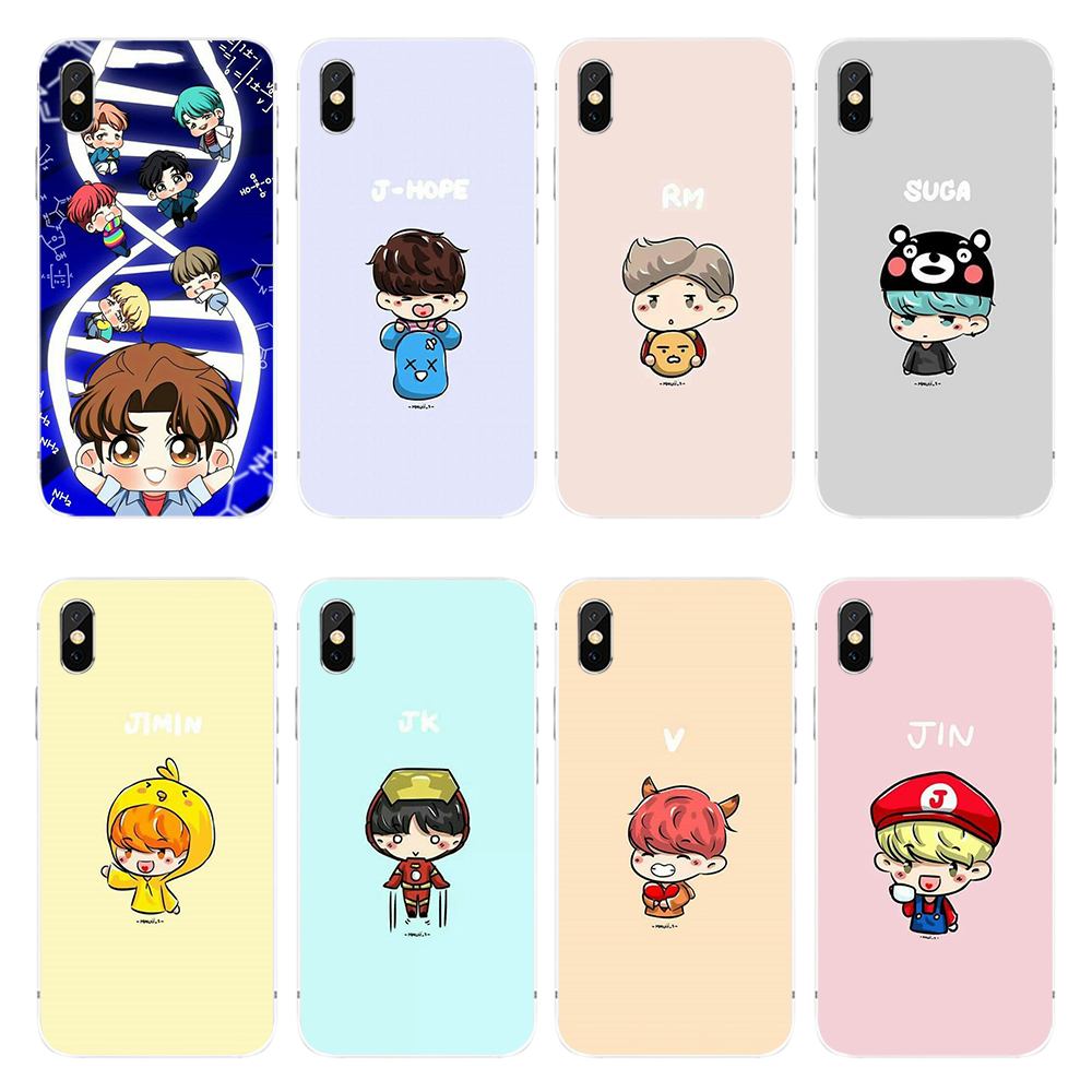 Cartoon BTS Kpop Bangtan Boys Print Soft TPU Phone Case for IPhone5S SE 6S 6Plus 7plus 8plus X XS XR XS MAX and Samsung S7 S8 S9