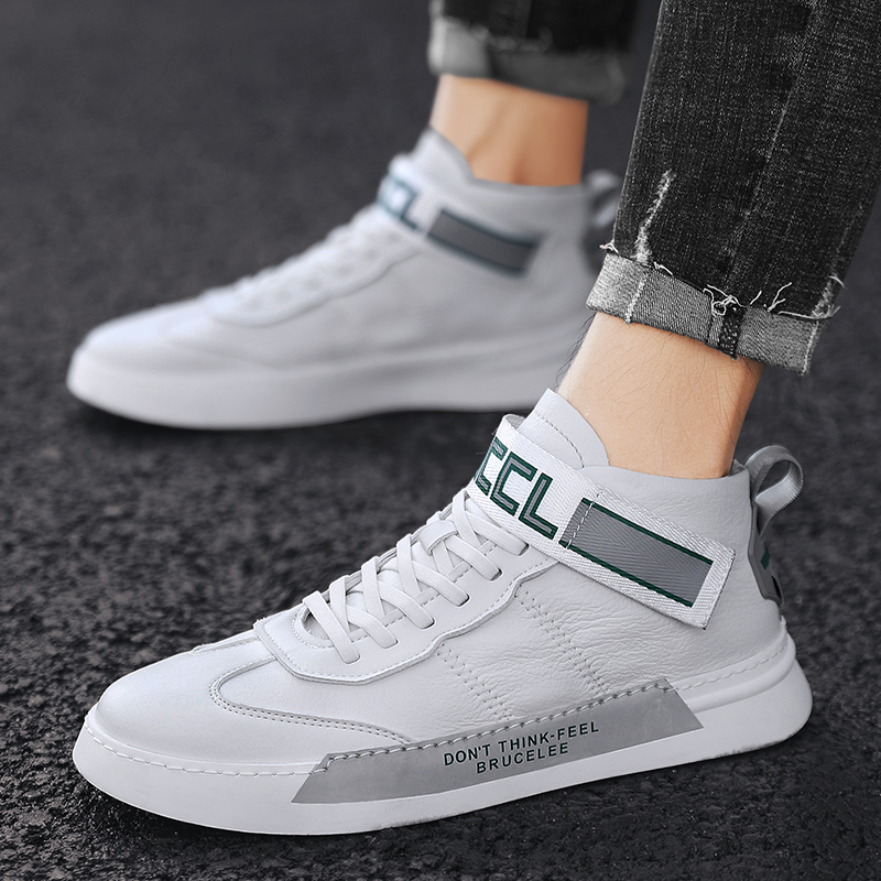 W2019 new British hundred foundation small white shoes men's high-top shoes round head tie with flat junior high school student board shoes