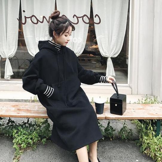Large women's Plush warm high collar top coat chubby sister autumn winter sweater knee length dress Korean version
