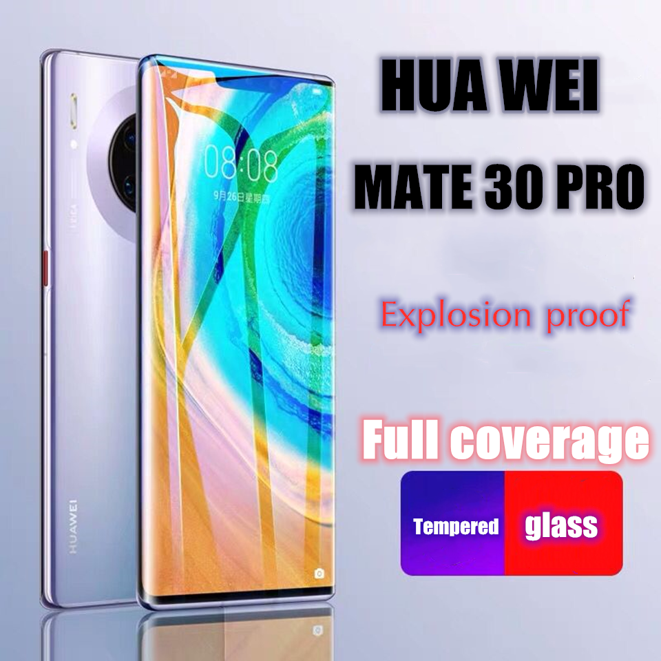 Full coverage HD Explosion proof tempered glass For Huawei Mate 30 Pro 30 Lite Full curved edge 9H Scratchproof screen protector glass