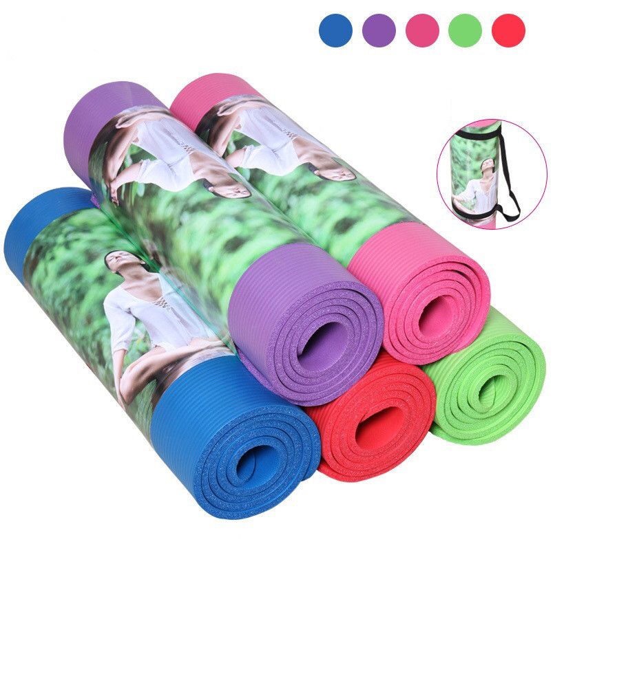 10mm 1cm Thick Roll Non Slip Ribbed Yoga Camping Pilates