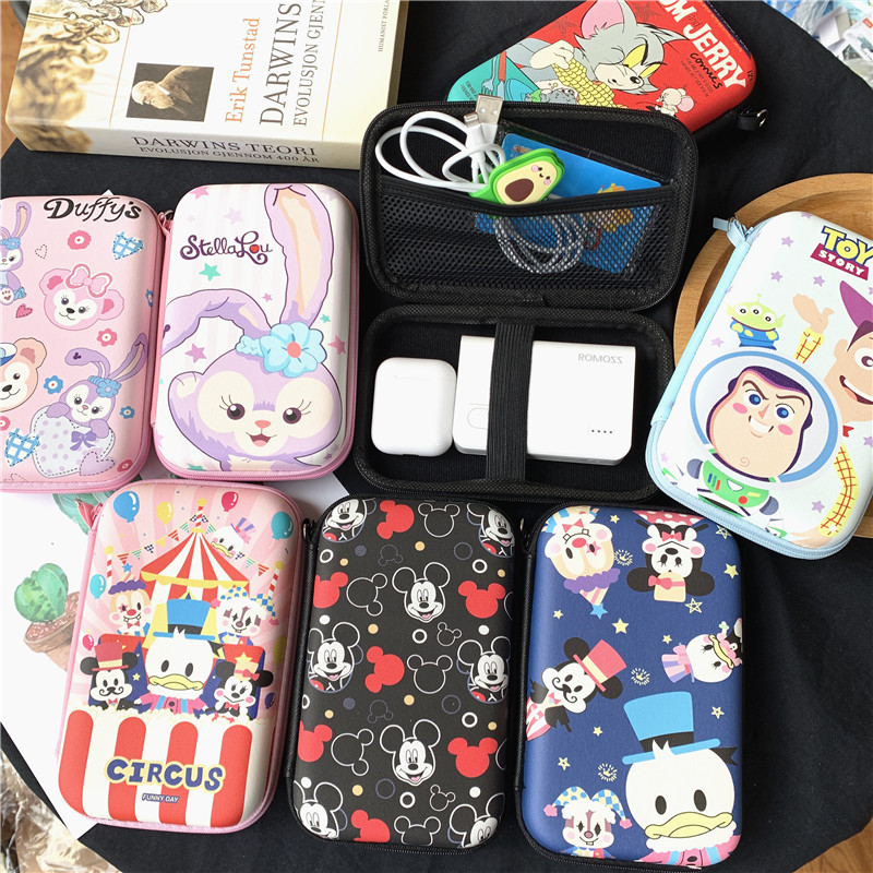Cute mobile hard disk power pack data cable charger storage box Bluetooth headset U disk cartoon finishing box airpods1/2 generation headset storage bag set cute cartoon data headset cable storage box