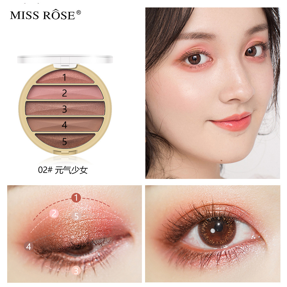 5-color gold pearl matte eye shadow net red makeup natural nude makeup earth color tie portable eye shadow plate