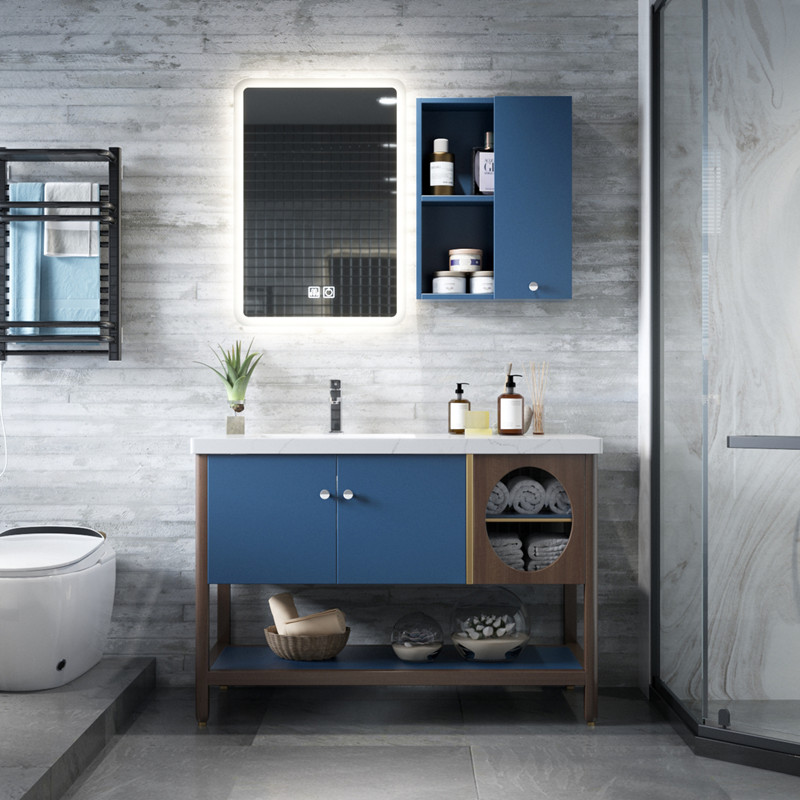 Buy Light Luxury Simple New Chinese Bathroom Cabinet Combination Wash Basin Wash Basin Cabinet Solid Wood Bathroom Washtable Floor To Ceiling On Ezbuy Sg