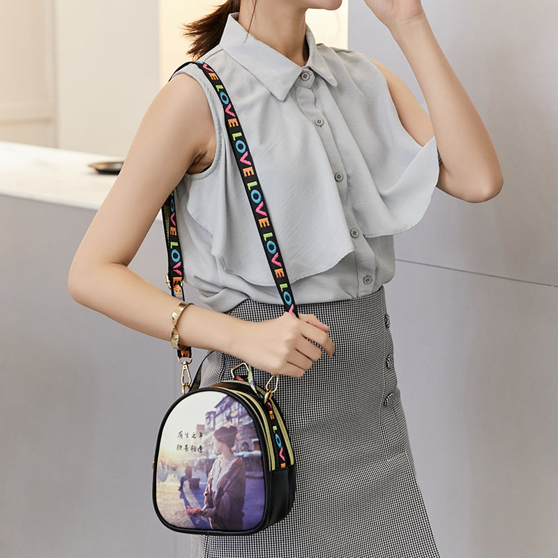 Chain slant small square bag fashion hundred set armaround one shoulder bag cute small bag girl 2019 new Korean version girl