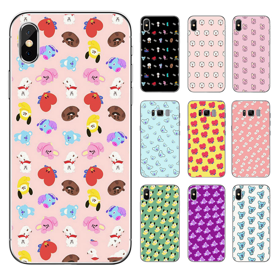 Trendy Anime Kpop BTS BT21 Dolls iphone Universal TPU Phone Case For Apple iPhone 8 7 6 6S Plus X XS MAX XR 5S SE and   Samsung S6 Edge S7 Edge S8 Plus S9 Plus Note 8 Note 9 Mobile phone model