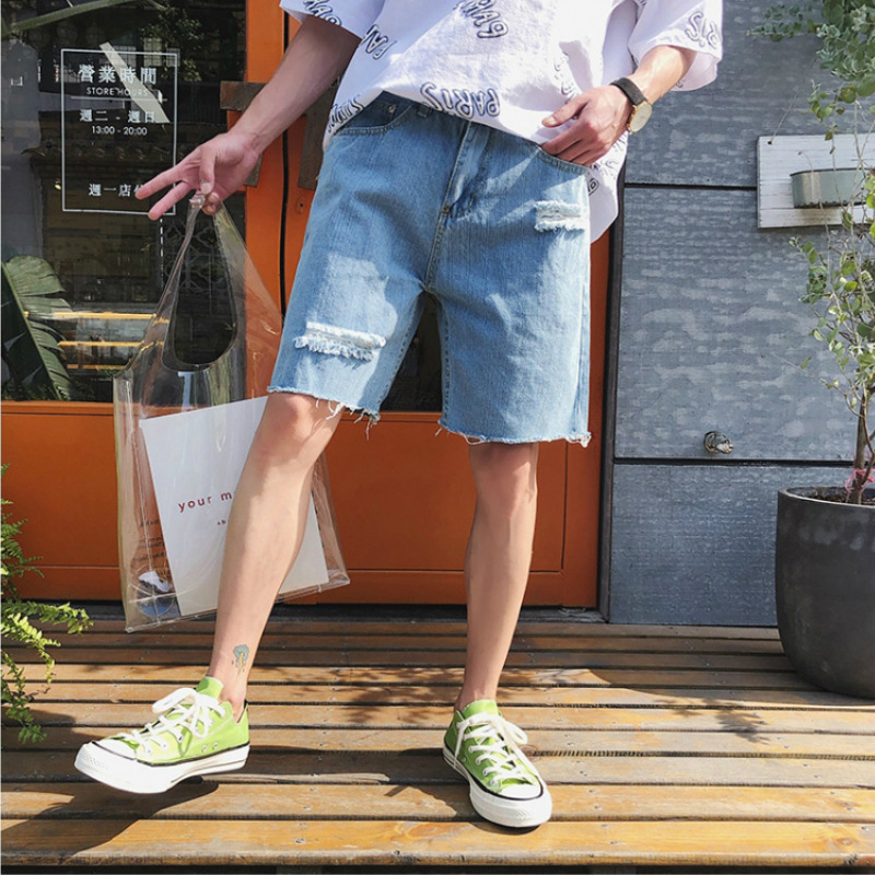 ulzzang port wind summer new men's hole-in-five jeans loose casual trend teen hair edge