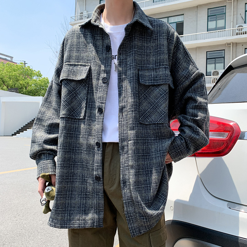 Uzi Store autumn and winter new retro plaid long-sleeved shirt men's bf handsome relaxed Korean version of the student hundred jacket coat ulzzang