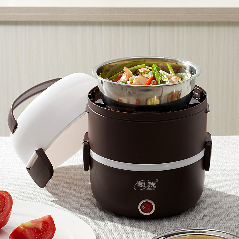 Electric hot lunch box can be plug-in heating insulation steamed rice cooking hot meal god with rice pot office worker 1 person portable