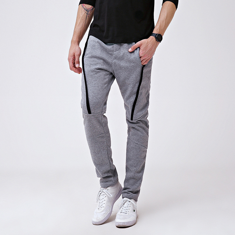 Teetyesy Men's Casual Striped Elastic Waist Running Sweatpants Slim Fit Joggers Pants (L, Black)