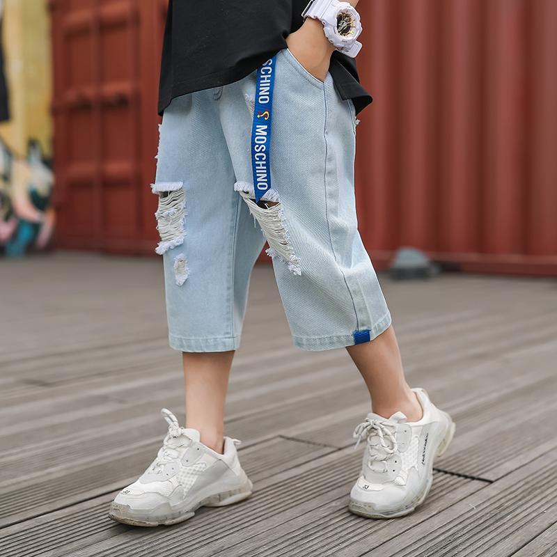 6 boys summer hole jeans 2019 new Korean version 10 middle school children seven-point pants tide children 12-15 years old