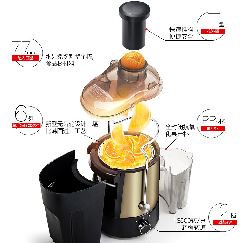 Royal Shangdong Juicer household slag juice separation automatic fruit and vegetable multifunctional fried juice machine Mini Small original Cup
