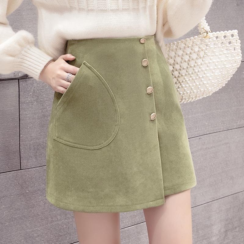 Autumn/Winter 2019 new open fork skirt slimming female a group of high waist irregular skirt bag-hip skirt