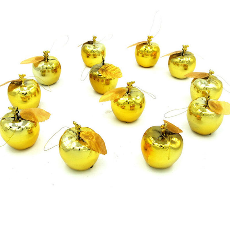 12pcs Christmas Tree Xmas Balls Decorations Gold Red Apple Baubles Party Wedding Ornament Christmas Hanging Decoration Supplies