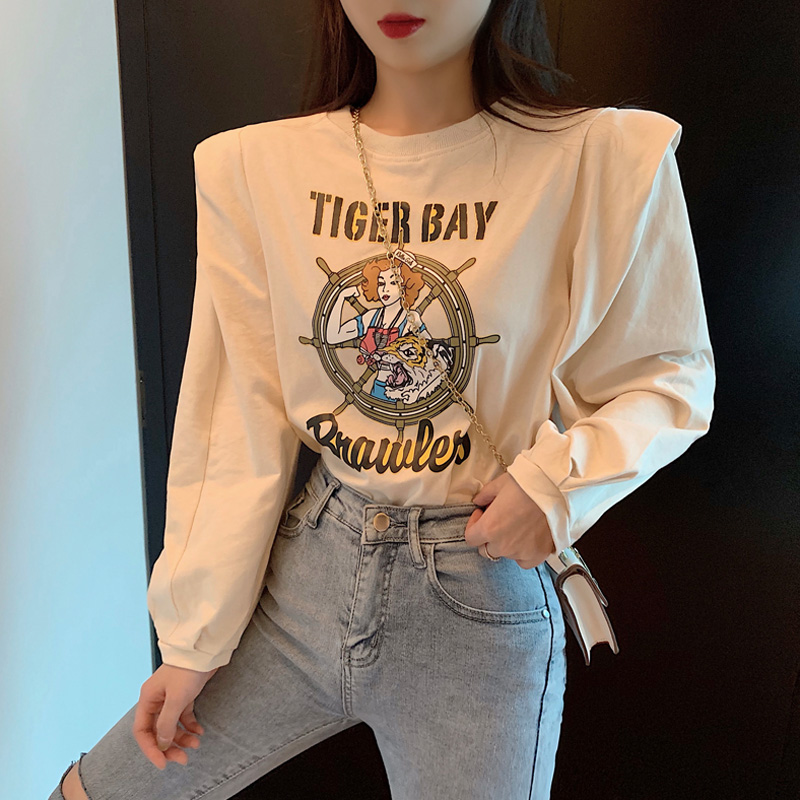 korean style ulzzang - autumn long-sleeved guard women's korean style loose BF fashion students casual letter round-neck top