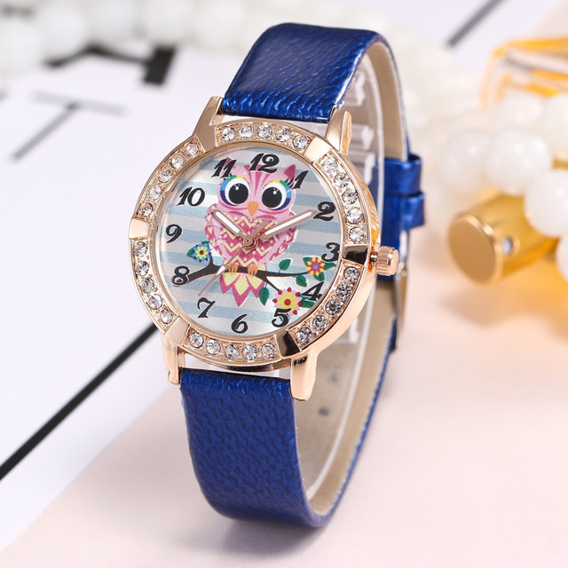 wish hot selling casual belt watch to get the pink owl cartoon lady quartz watch