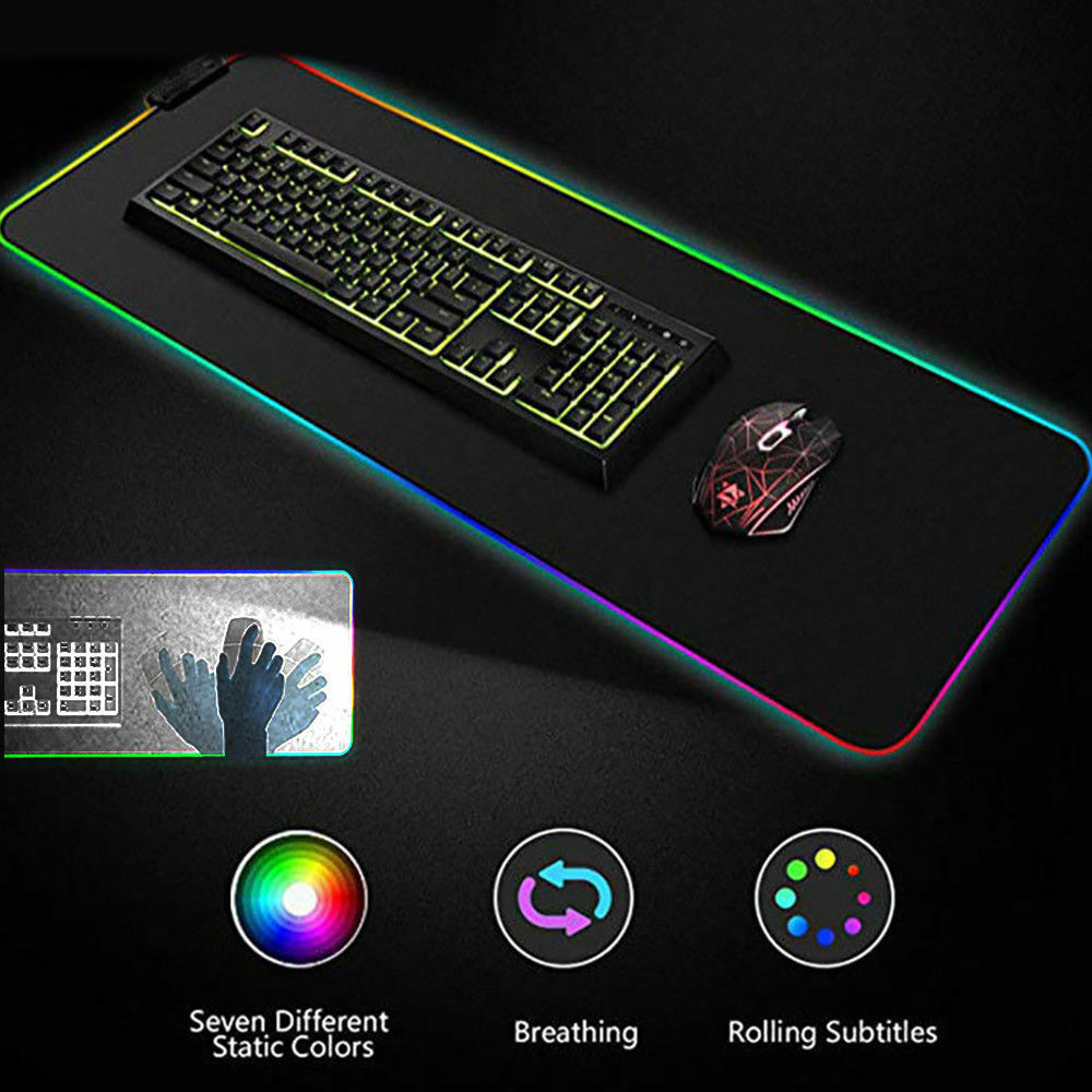 RGB Colorful LED Lighting Mouse Mat Gaming Mouse Pad for PC Laptop Small/Large