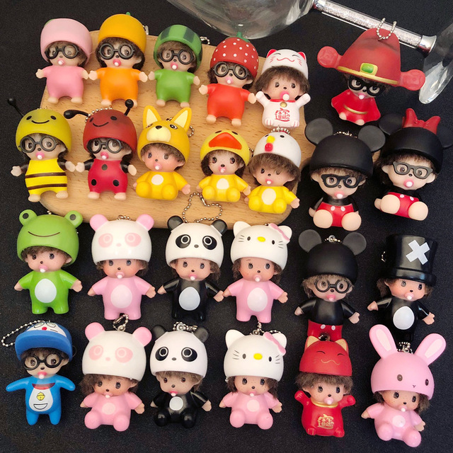 New cute creative chic key fob men and women car key chain couple key ring doll pendant wholesale