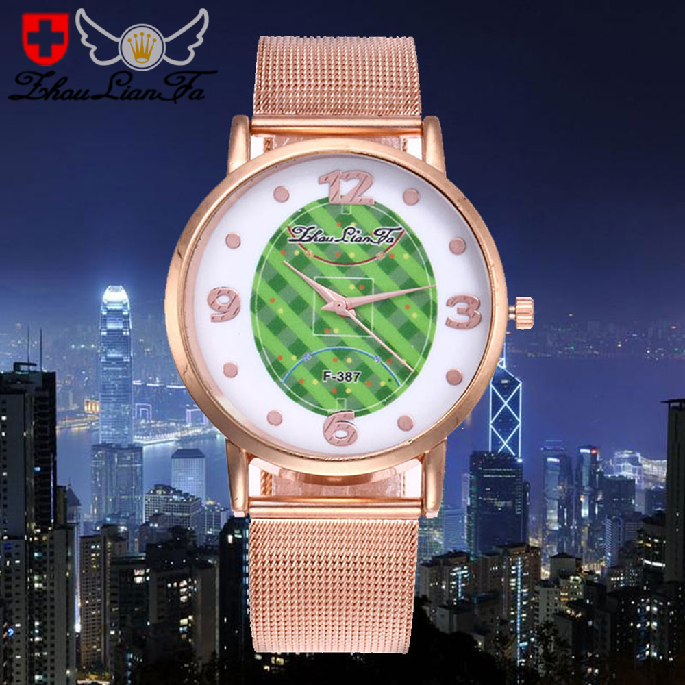 World Cup selling fashion football watch classic steel mesh belt quartz watch tide men and women wrist watch F-387 Mesh Belt