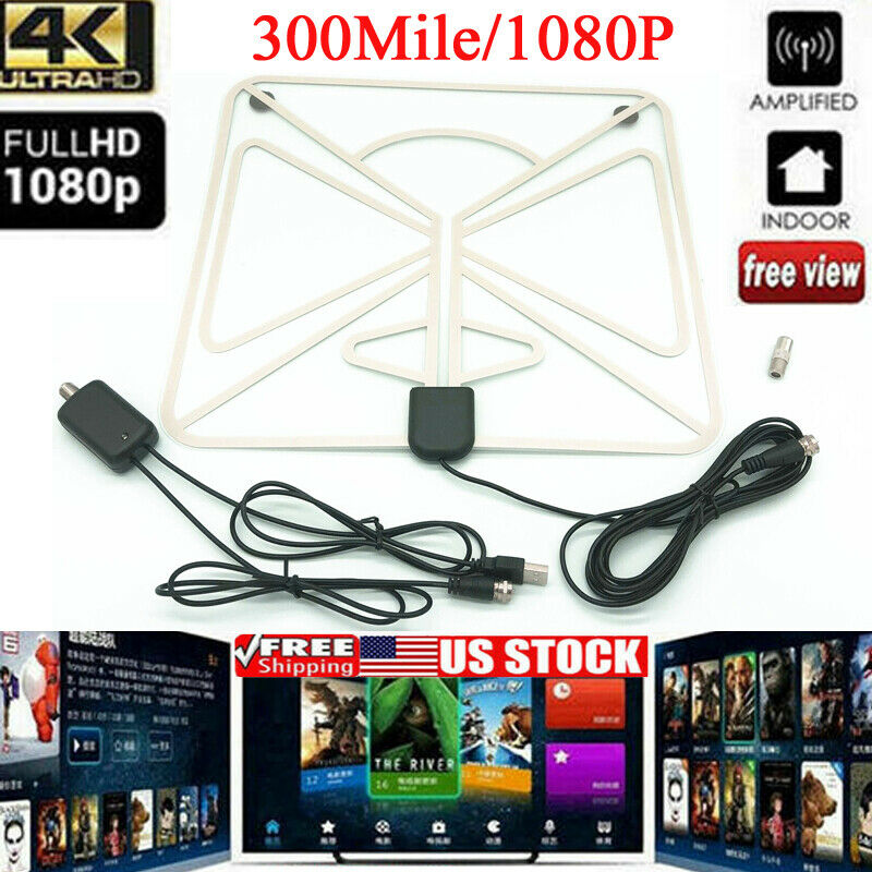 Transparent Square Antenna TV Digital HD 200 Mile Range Skylink TV Indoor 1080P 4K,4M Coax Cable,Without Amplifier Signal Booster