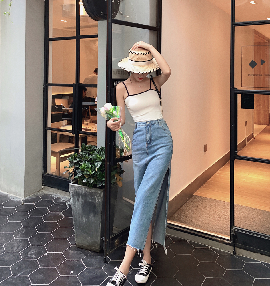 2562 Summer French Sexy Open Fork Denim Skirt Mid-length high-waisted skirt shows thin bag hips