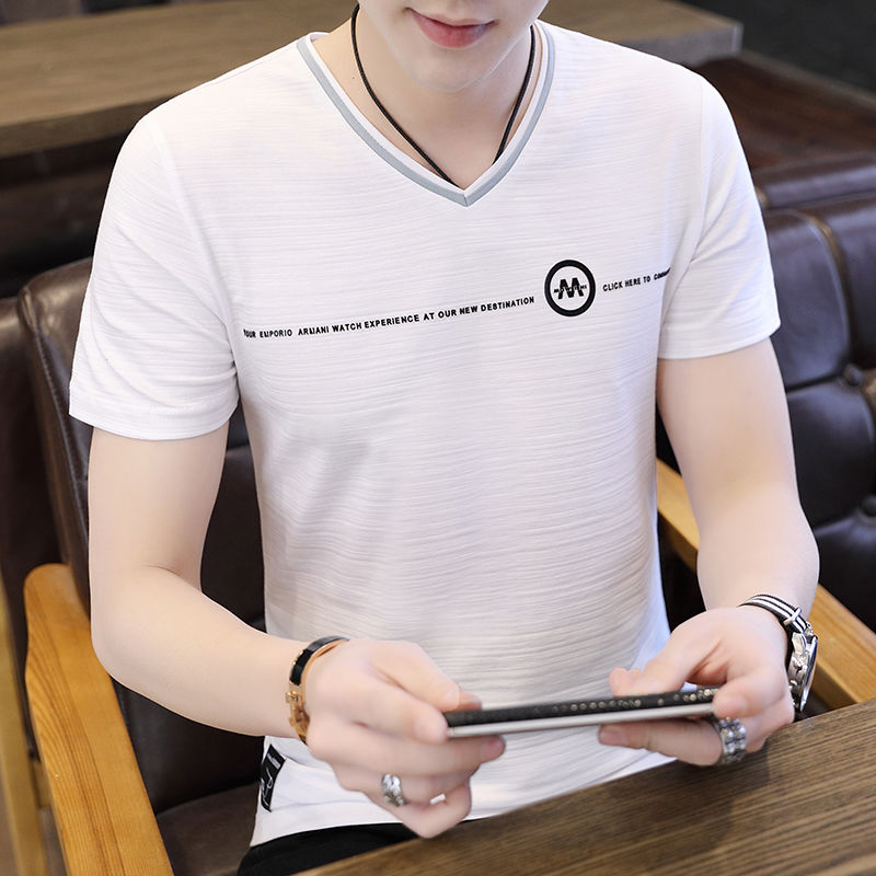 4fe80c5f42b Buy Season slimback half-sleeve trend Korean version t-shirt bottom shirt  man Hong Shibo 95% cotton V-neck short-sleeved T-shirt men's summer on  ezbuy MY
