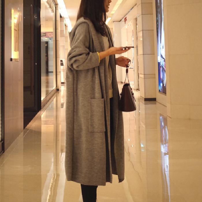 Threaded women's mid-length cardigan looseplus size knitwear spring coat